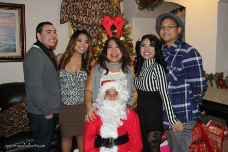 [Left to right] RayMichael (sister's boyfriend), Kris (sister), Mom, me, JP (my boyfriend), and Santa is my brother Marty.
