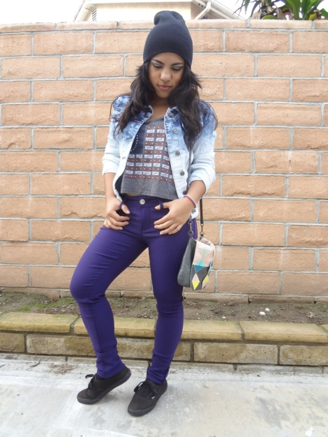Hazzle is wearing the purple hyper stretch by YMI Jeans. This is one of her favorites because it's really comfy!